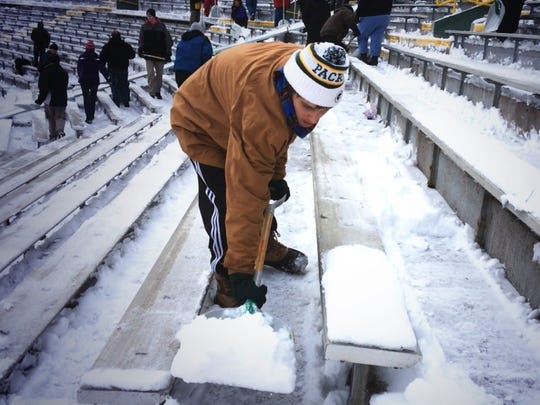 Hundreds of people are needed to shovel out Lambeau