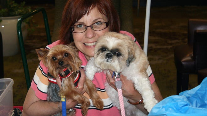 Debra J. Bellstein poses with her dogs Mica a 13-year-old Yorkie, left, and a Shih Tzu named Tutti, 11, during an event at the Yorkshire Terrier Club of Los Angeles.