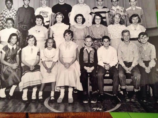 Pete Rose is sixth from left in the 1954 class photo of Sayler Park Elementary.