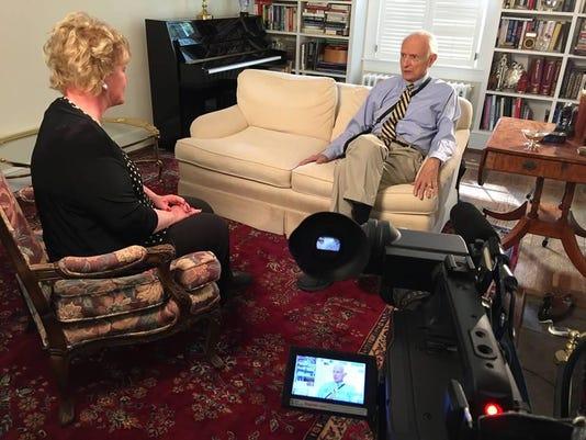 Patty Spitler talks to former Indianapolis mayor Bill Hudnut, Boomer TV.jpg