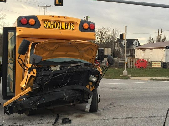 There were minor injuries suffered in a crash involving a car and a school van in Jackson Township Thursday.