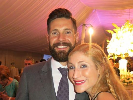 Marshall Roberts and Victoria Luraguiz at wedding reception.