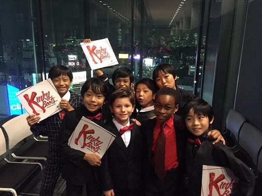 Collin Jeffrey with other actors, actresses who have played the children's roles in 'Kinky Boots.'