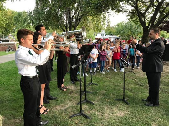 """Members of the Passaic Valley High School Marching Band played """"God Bless America"""" during a memorial service on Sept. 11, 2017, at Wilmore Road Park in Little Falls to honor those who died in the terrorist attacks on 9/11."""