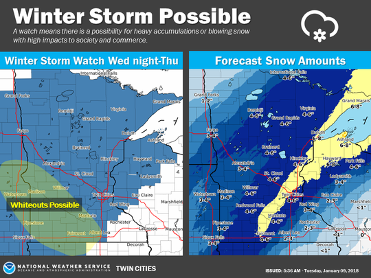 Forecast snow amounts for Jan. 10-11 from National Weather Service