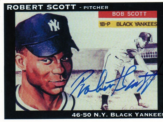 A baseball card for Robert Scott, who played for the New York Black Yankees. Scott is one of the former Negro League players interviewed in the documentary film ``The Other Boys of Summer.''