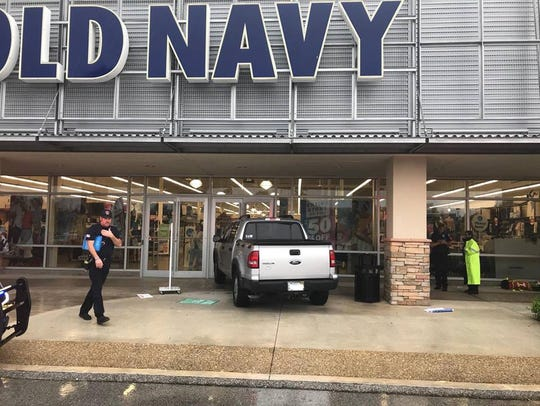 Nobody was hurt after a truck crashed into an Old Navy