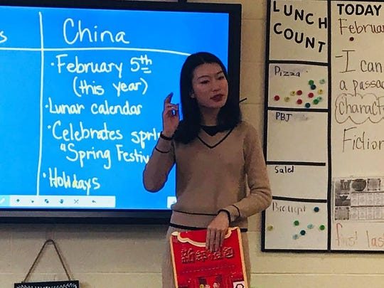 Sunny Wong, an English teacher in China, visited Spottsville Elementary School as part of a teacher exchange program. (Feb. 5, 2019)