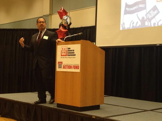 U.S. Rep. Keith Ellison spoke at an Iowa Citizens for Community Improvement convention in 2014. Ellison is now a candidate for chairman of the Democratic National Committee.