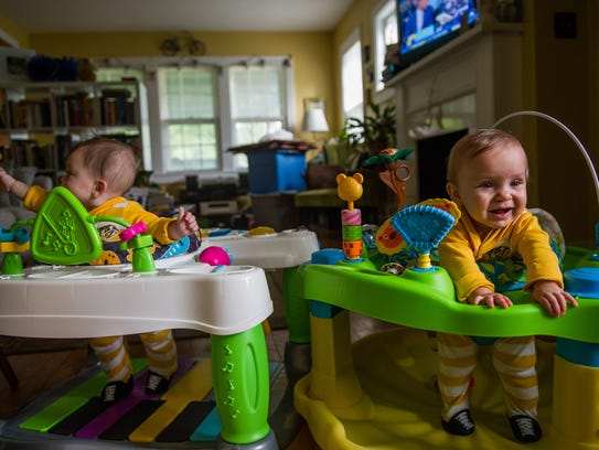 Pinuccia Pagetta, 11 months, bounces in her walker