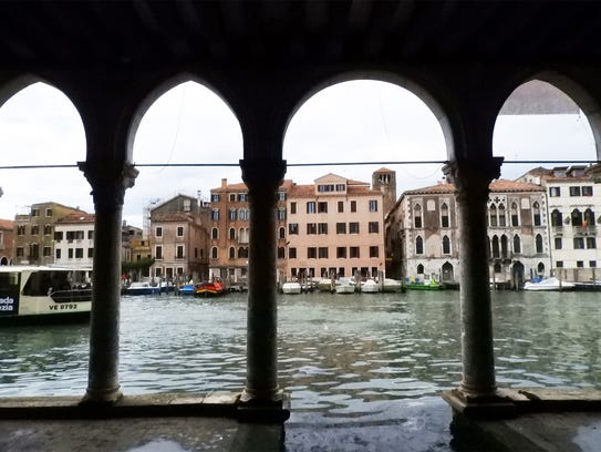 """The Venetian Gothic portico of the Ca' d'Oro, or """"Golden"""