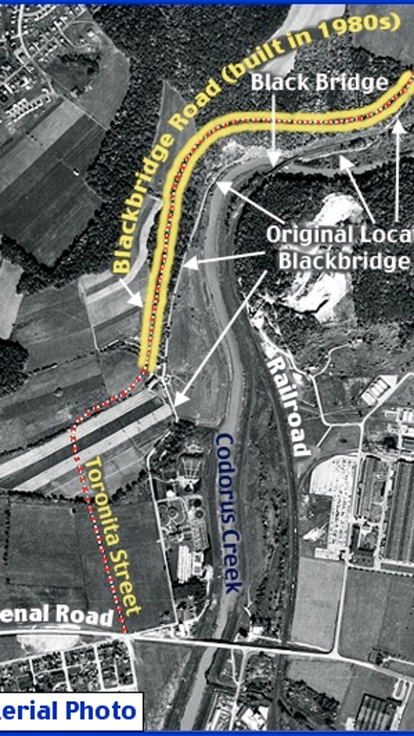 October 9, 1957 Aerial Photo of Codorus Creek north of York, PA (Aerial Photo from Penn Pilot; Annotations by S. H. Smith, 2015)