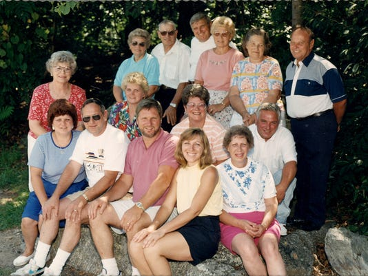 Luther and Mary Snelbaker had 17 children. Of these 17 children, there are six who are in their 80s. They are in the photo, along with the rest of the family. First row, from left to right: Shirley Crone, Harold Snelbaker (deceased), Wayne Snelbaker, Patti Renfrew and Viola Kerrigan (deceased). Second row, from left to right: Mary Ellen Stump, 80, Betty Emminger, Judy Ewell and Larry Snelbaker. Third row, from left to right: Gartie O'Dell, Jay Snelbaker, 81, Luther Snelbaker, 83, Emma Jane Sanger, 84, May Zeigler, 86, and Clarence Snelbaker, 87. Not pictured: Ray and Jimmy Snelbaker (deceased). Submitted