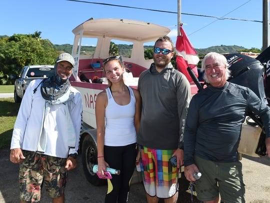 Spearfishers during the 2018 Micronesian Games Guam National Spearfishing Team Trials at the Agat Marina on Jan. 6, 2018. From left: Todd Genereux, Jen Weir, Chase Weir, and Pat Atherton.