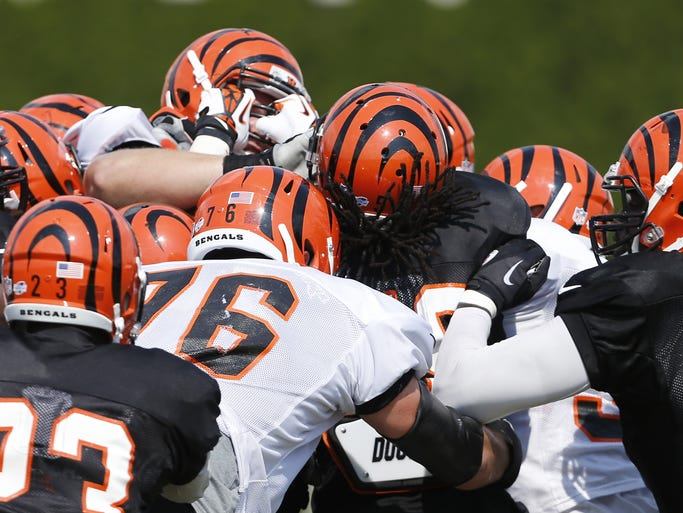 Cincinnati Bengals linebacker Emmanuel Lamur grabs a hold of the face mask of guard Clint Boling as a fight broke out on the field during training camp downtown.