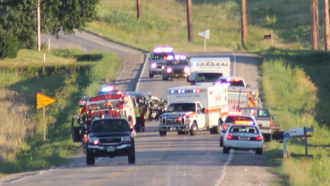 Emergency crews from several area law enforcement and fire departments responded to a two-vehicle accident June 30 near Marengo.