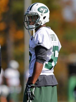 New York Jets wide receiver Percy Harvin (16) works out for the first time since his trade during NFL football practice in Florham Park, N.J., Monday, Oct. 20, 2014.