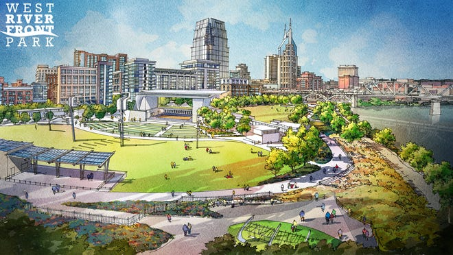 A rendering shows the park planned for the former Nashville Thermal Transfer Plant site on the west bank of the Cumberland River.