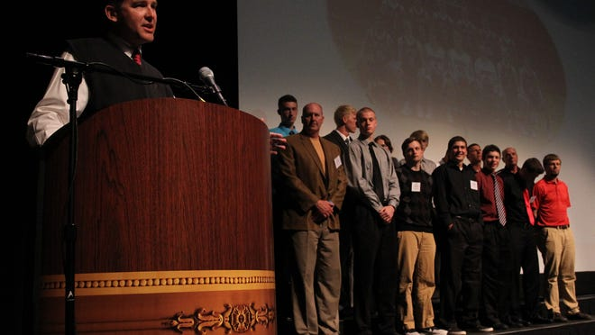 Scott Anderson, coach of the SPASH boys basketball team, speaks after it was announced that the team was selected as the Team of the Year for a boys sport Wednesday at the Gannett Central Wisconsin Media High School Sports Awards at the Grand Theater in Wausau.
