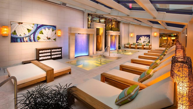 The Aqua Spa Lounge is part of the in the 30,000-square-foot Spa Atlantis. The spa recently received four stars from Forbes Travel Guide.