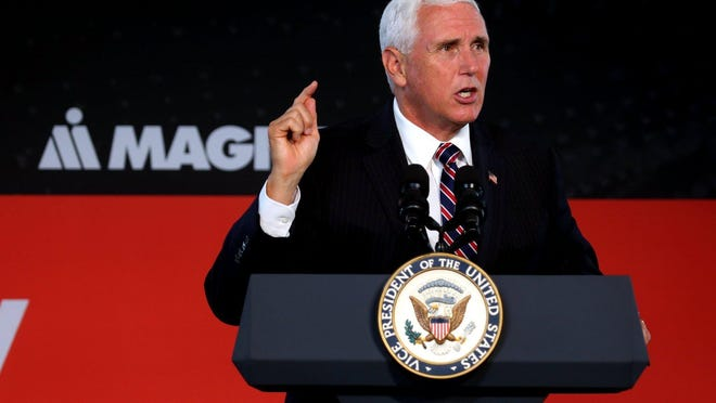 Vice President Mike Pence speaks at the groundbreaking for MAGNA International in Lancaster on July 30, 2019.