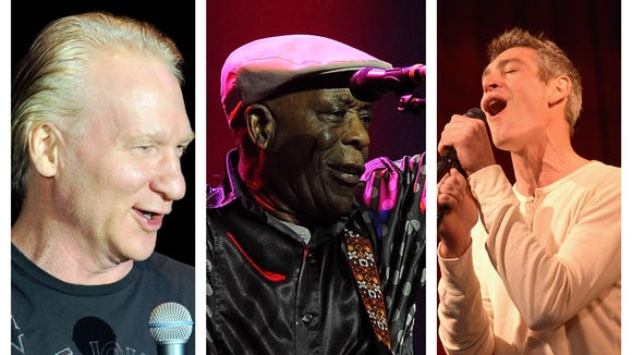 Left to right: Bill Maher, Buddy Guy and Matisyahu are all Wilmington-bound.