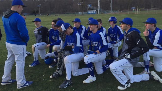Middlesex High School baseball coach Justin Nastasi talks to the Blue Jays following their 13-3 win over Bishop Ahr on Thursday