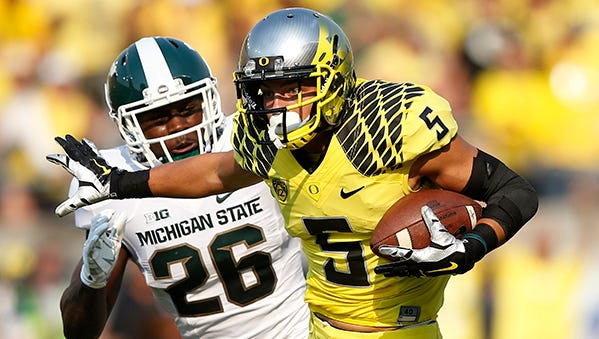 The Ducks prevailed 46-27 in last year's matchup against the Spartans.