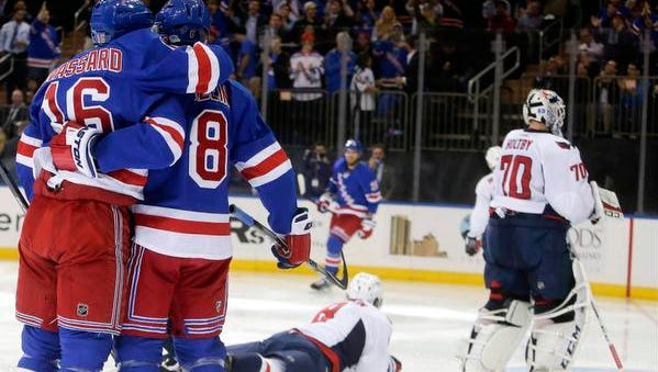 New York Rangers' Kevin Klein (8) celebrates his goal with teammate Derick Brassard (16) as Washington Capitals' Alex Ovechkin (8) and goalie Braden Holtby (70) look away during the second period of an NHL hockey game Tuesday in New York.