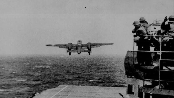 The Eighth Air Force is celebrating its 75th anniversary on Feb. 1. A B-25 Mitchell is pictured taking off from the aircraft carrier USS Hornet as part of the Doolittle Raid of Japan, on April 18, 1942.