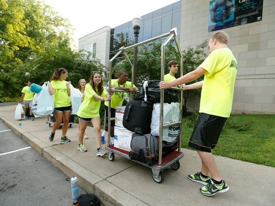 Volunteers help students move in last year at Vanderbilt University.