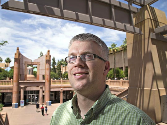 "Lee Bebout says the ""U.S. Race Theory & the Problem of Whiteness"" course he taught last spring was one of his best classes at Arizona State University.  He stands outside of Hayden Library on the ASU campus in Tempe on May 21."