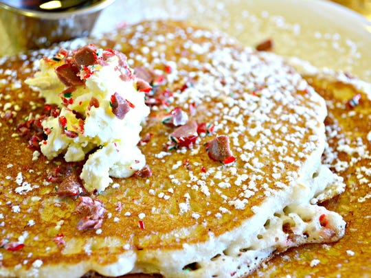 The candy cane pancakes that will be offered only on Dec. 25 at Luci's Healthy Marketplace.