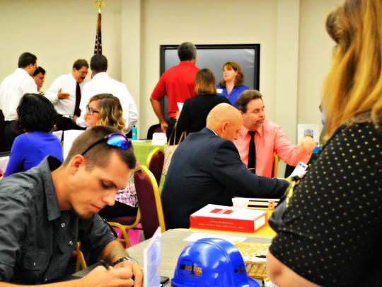 A recent job fair is in full swing. An annual job fair in April focuses on the manufacturing industry.