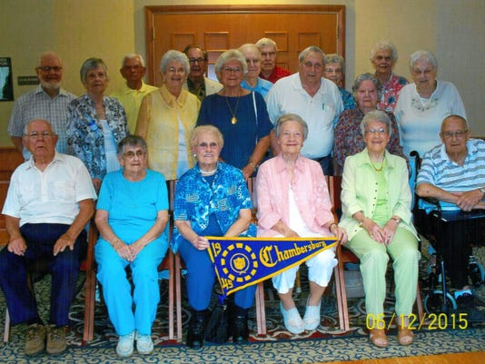 Chambersburg High School class of 1945 classmates pictured June 13 are, front row from left, George Leeper, Dorothy (Seifreid) Morgan, Jean (Knouse) Zimmerman, Thelma (Lesher) Keefer, Theda (Lesher) Monn and Guy Flory. Second row: JoAnn (Smith) Dittmann, Margaret (Orton) Powell, Nancy (Evans) Grant, Dick Blair, Jean (Brown) Boles and Vera (Fortna) Lensbower. Back row: paul Gamble, George Schjodt, Ted Lesher, Bob Harrison, Marvin McKenzie, Louise (Harmon) Cook and Dorothy (Gillan) Zullinger.