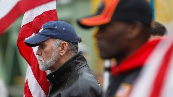 The Patriot Guard honors Staff Sgt. Nicholas J. Reid during a ceremony in Brockport Saturday.