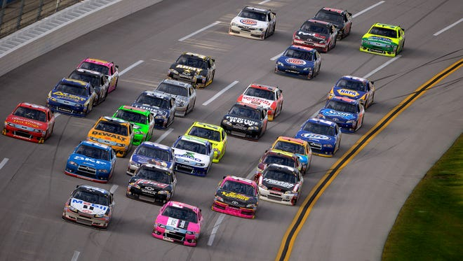 Drivers end up racing in big clumps at Talladega Superspeedway because the cars' power is restricted.