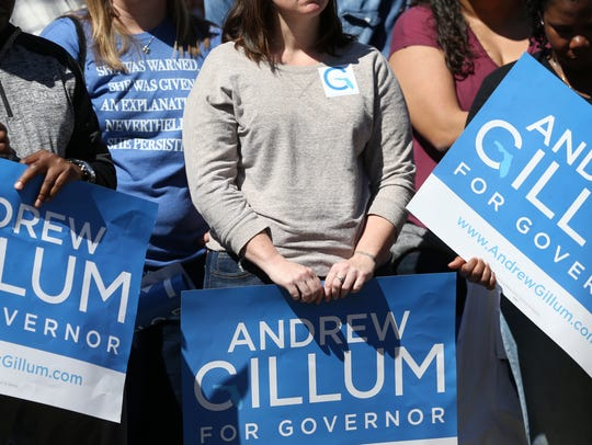 Supporters hold signs for Mayor Andrew Gillum as he