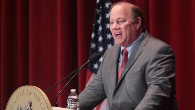 Detroit Mayor Mike Duggan gives his 2nd State of the City address at the Old Redford Theatre in Detroit in February 2015.