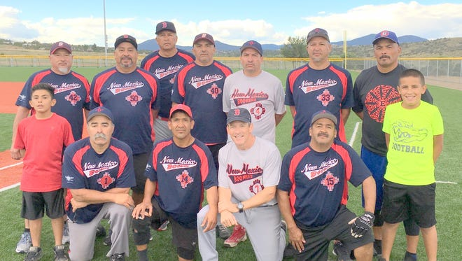 Members of the Boomers, kneeling, from left, are Tommy Polanco, Jaime Gonzales, Shawn McKenzie and Antonio Hernandez. Standing, from left, are Richard Rodriguez, Mike Munoz, Ron Parra, Ernie Escamilla, Pepe Tarango, Tommy Parra and Tim Bravo.