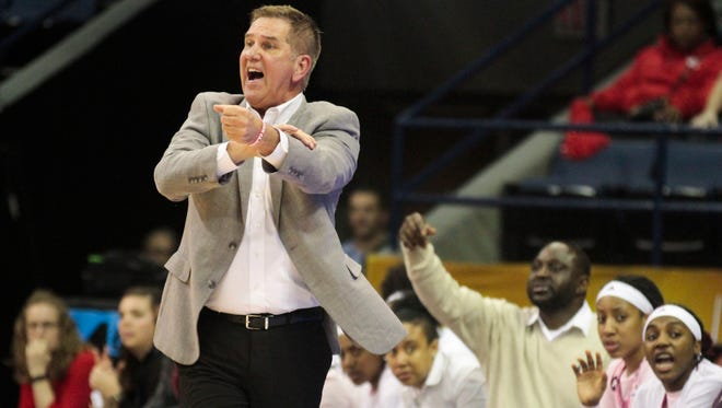 UL Head Coach Garry Brodhead gestures  in the first half of the Cajuns 78- 64 defeat by Troy in the Sun Belt Championship game in New Orleans Sunday, March 12, 2017.