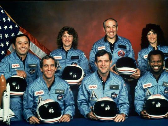 Michael J. Smith, Francis R. (Dick) Scobee, and Ronald E. McNair, Ellison Onizuka, Christa McAuliffe, Gregory Jarvis, Judith Resnik