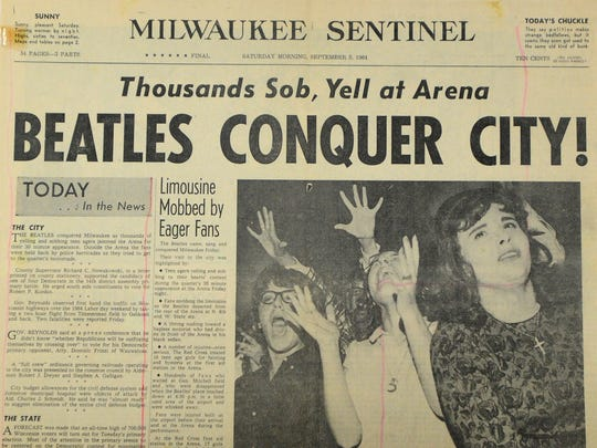 The front page of the Milwaukee Journal on Sept. 5, 1964, after The Beatles played in Milwaukee.