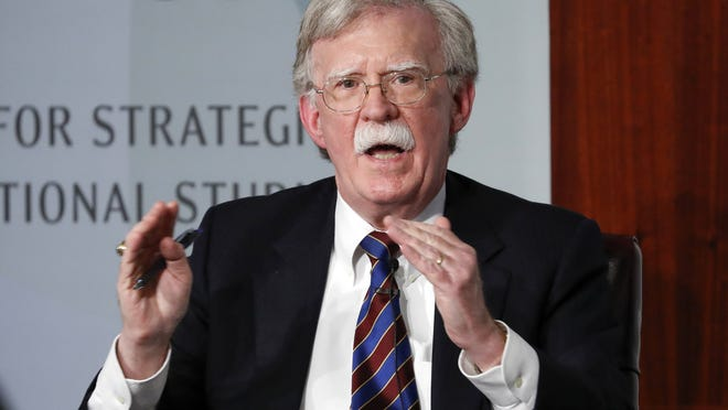 Former national security adviser John Bolton gestures while speakings at the Center for Strategic and International Studies in Washington.