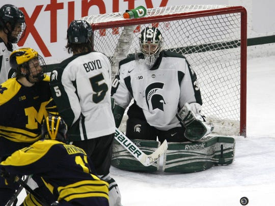 MSU goalie Jake Hildebrand ranks first in the Big Ten with a 2.35 goals-against average and a .920 save percentage. He has played 99.1 percent of the minutes in goal for the Spartans, which is the highest percentage in the nation.