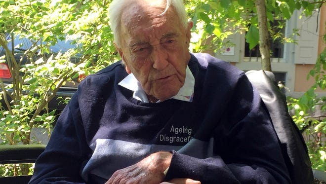 Australian scientist David Goodall, 104, sits in a wheelchair in Basel, Switzerland, on May 8, 2018.