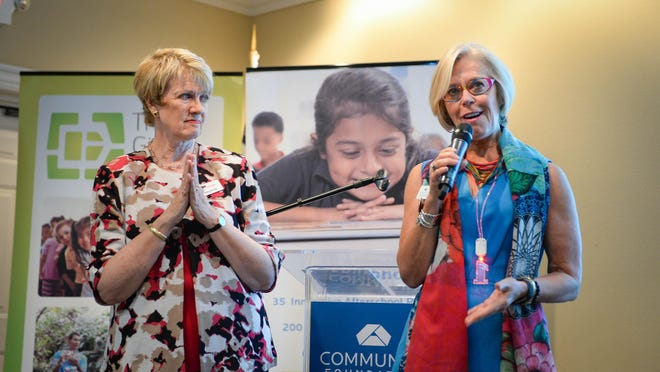 Roxie Jerde, right, president and CEO of the Community Foundation of Sarasota County, and Debra Jacobs, president and CEO of The Patterson Foundation, in 2019.