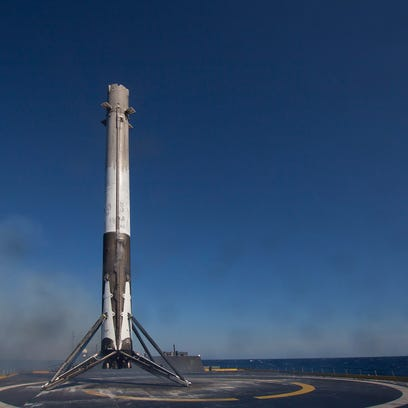 The first stage of a SpaceX Falcon 9 rocket landed