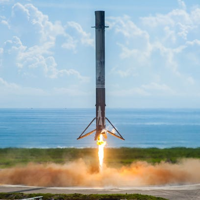 On Sept. 7, 2017, the first stage of a SpaceX Falcon