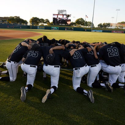 GCU baseball players get ready for their game against